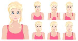 Menina modelo loura bonita com emoções diferentes e as expressões faciais ajustadas Ilustração do vetor ilustração stock