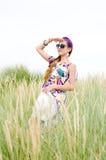Menina modelo na praia Fotografia de Stock Royalty Free