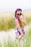 Menina modelo na praia Fotos de Stock