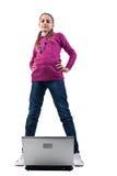 Menina moderna com portátil. Fotos de Stock Royalty Free