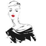 Menina moderna, esboço, bordos vermelhos Foto de Stock Royalty Free