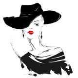 Menina moderna, esboço, bordos vermelhos, fundo branco, penteado elegante Fotos de Stock