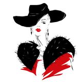 Menina moderna, esboço, bordos vermelhos, penteado elegante Imagem de Stock Royalty Free