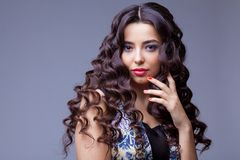 Menina moreno bonita com cabelo longo saudável Imagens de Stock