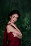 Menina moreno bonita com olhar sensual em um fundo verde Retrato Imagem de Stock Royalty Free