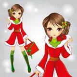Menina moreno da forma bonito vestida como Santa Claus Ilustração Stock