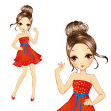 Menina moreno da forma no vestido vermelho retro Ilustração Royalty Free