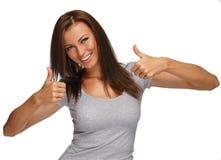Menina moreno positiva nova Imagem de Stock