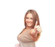 A menina mostra o polegar Imagem de Stock Royalty Free