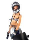Menina-motociclista principal vermelho 'sexy' Fotos de Stock
