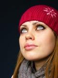 Menina muito bonita em um tampão vermelho Fotos de Stock