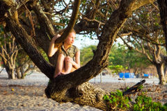 Menina na árvore da praia Imagens de Stock