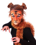 Menina na aparência um tigre. Imagens de Stock