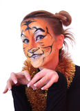 Menina na aparência um tigre. Fotografia de Stock