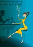 Menina na barra que bebe com indivíduo Imagem de Stock