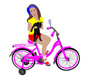 A menina na bicicleta Fotos de Stock