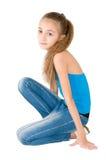 Menina na blusa azul Fotos de Stock