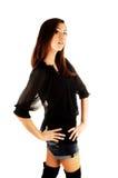 Menina na blusa preta. fotos de stock royalty free