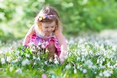Menina na caça do ovo da páscoa Imagem de Stock