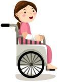 Menina na cadeira de rodas ilustração royalty free