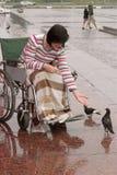 A menina na cadeira de rodas alimenta pássaros Imagens de Stock Royalty Free