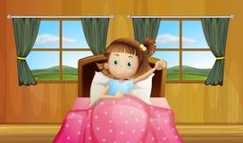 Menina na cama ilustração royalty free