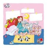 A menina na cama com gato, afagos, brinca a serpente, Fotos de Stock