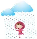 Menina na capa de chuva cor-de-rosa que está na chuva ilustração do vetor