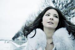 Menina na cidade do inverno Imagem de Stock Royalty Free