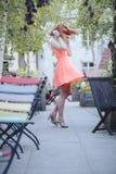 Menina na cidade velha Foto de Stock Royalty Free