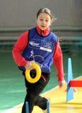 Menina na competição do atletismo de IAAF Kidâs Imagens de Stock Royalty Free