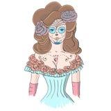 Menina na composição Dia De Los Muertos ilustração stock