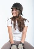 Menina na engrenagem da equitação Fotos de Stock Royalty Free