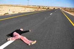 Menina na estrada Imagem de Stock