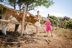 Menina na exploração agrícola Foto de Stock Royalty Free