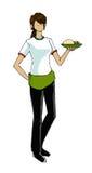 Menina na ilustração do uniforme da empregada de mesa Imagens de Stock Royalty Free