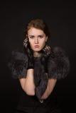 A menina na imagem retro fotografia de stock royalty free