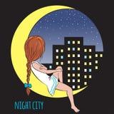 Menina na lua e na cidade da noite Imagem de Stock