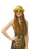 Menina na máscara dourada isolada no branco Imagens de Stock Royalty Free