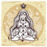 Menina na meditação ilustração royalty free
