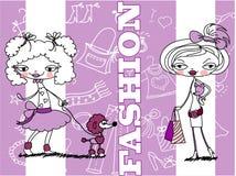 Menina na moda, vetor do fundo Foto de Stock Royalty Free