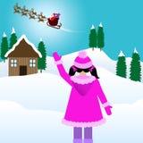 Menina na neve que olha Santa ilustração do vetor