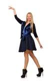 Menina na obscuridade - saia azul do cabelo louro isolada sobre Fotografia de Stock Royalty Free