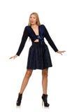 Menina na obscuridade - saia azul do cabelo louro isolada sobre Foto de Stock