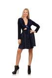 Menina na obscuridade - saia azul do cabelo louro isolada sobre Fotografia de Stock