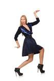 Menina na obscuridade - saia azul do cabelo louro sobre Fotografia de Stock