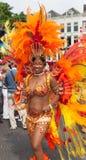 Menina na parada de carnaval 2012 do verão fotografia de stock