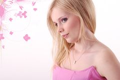 Menina na parte superior cor-de-rosa Imagem de Stock