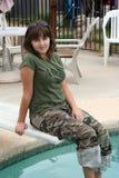 Menina na placa de mergulho Imagens de Stock Royalty Free