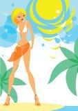 Menina na praia ilustração stock